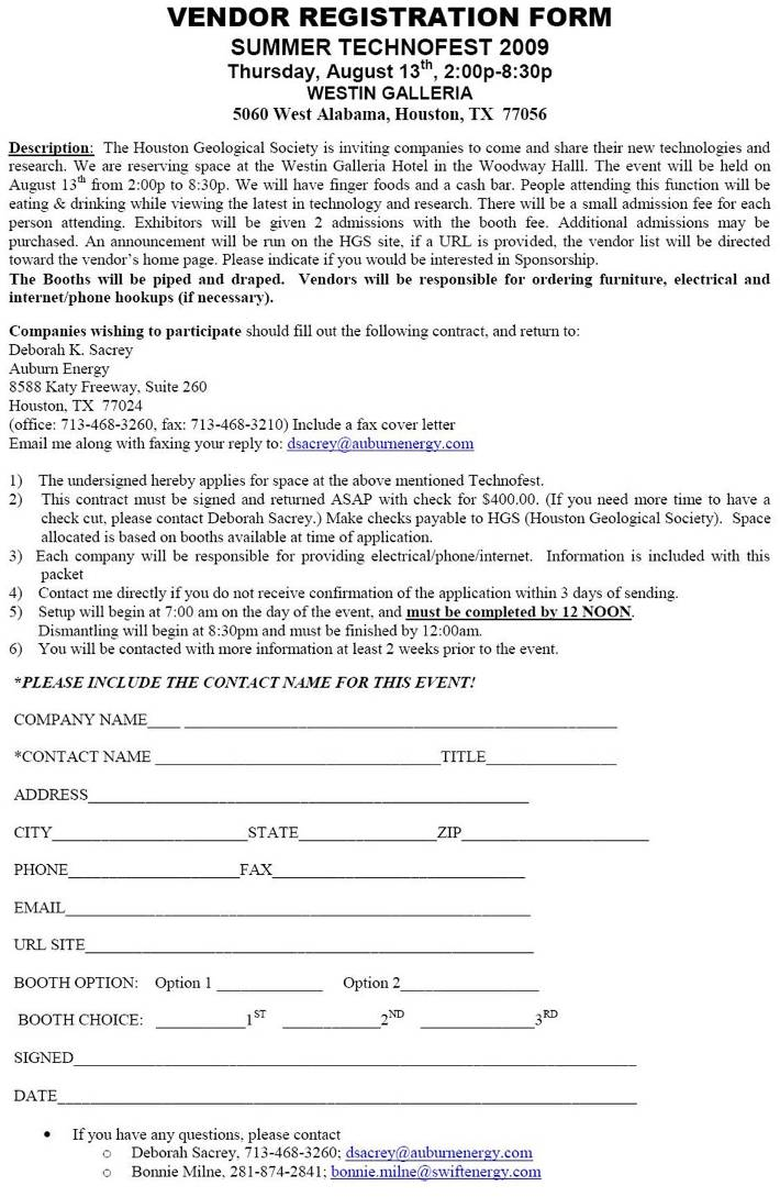 HGS Technofest 2009 – Vendor Registration Form