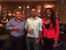 Gretchen Gillis, AAPG House of Delegates, hosted an event for the AAPG Young Professionals in Houston at the Black Lab Pub. Thanks Gretchen for hosting this event! - Pictured from left to right is Paul Britt (AAPG President), Pankaj Khanna (PhD Candidate Geology, Rice University) and Stephanie Nwoko (Reservior Geologist).